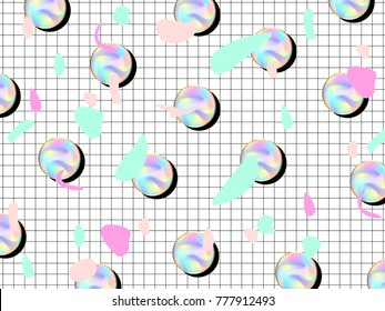 Holographic seamless pattern, crystal mesh. Modern style trends 80. Surreal hipster images. Bright holographic backgrounds. Geometric abstract background