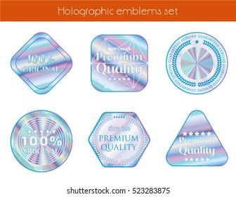 Holographic set geometric shapes illustration sticker quality emblem