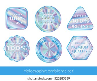 Holographic set label illustration sticker quality emblem