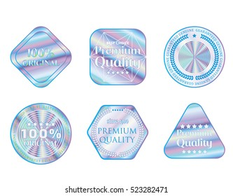 Holographic set shapes illustration sticker collection quality emblem