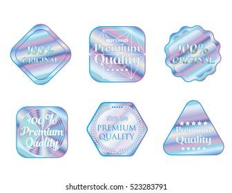 Holographic set shapes illustration sticker quality emblem