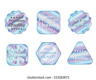 Holographic set stickers illustration template quality emblem
