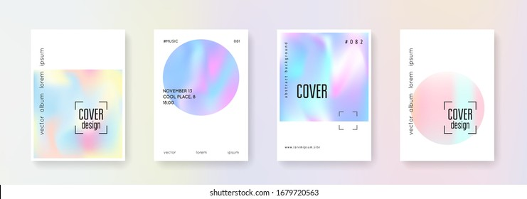 Holographic shape set. Abstract backgrounds. Vintage holographic shape with gradient mesh. 90s, 80s retro style. Iridescent graphic template for book, annual, mobile interface, web app.