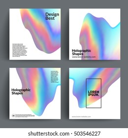 Holographic shapes backgrounds set. Applicable for gift card,cover,poster,brochure,magazine. Vector template.