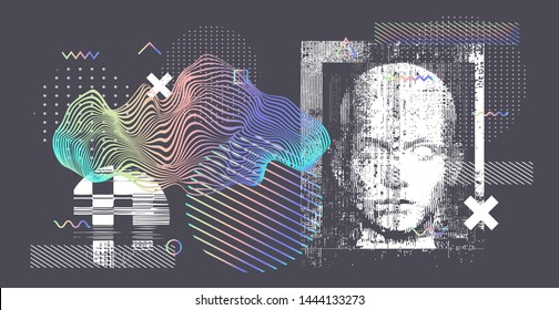 Holographic silhouette of a human. Conceptual image of AI (artificial intelligence), VR (virtual reality), Deep Learning  and Face recognition systems. Cyberpunk style vector illustration.