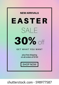 Holographic spring sale banner for online shopping with discount offer. Promotional email design poster. Gradient mesh abstract background.