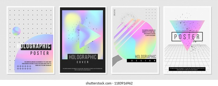 Holographic Style poster set. Creative neon color templates with dynamic text. geometric vector shapes with bright gradients. to be used in ad, promotion, part invitation, announcement, banner, web.