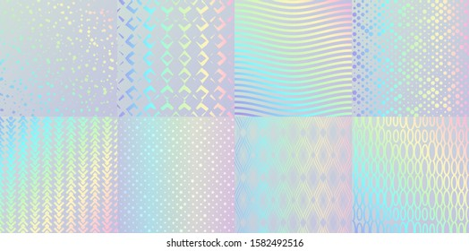 Holographic textures. Glitter foil confetti and metal rainbow gradient, pink and blue retro design. Vector trendy neon hologram with luminous patterns for elegant background logo or card