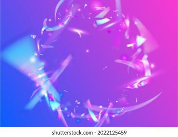 Holographic Tinsel. Festive Art. Metal Element. Carnival Background. Purple Party Glitter. Cristal Sparkles. Blur Multicolor Decoration. Modern Foil. Blue Holographic Tinsel