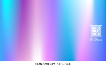 Holographic Vector Background. Iridescent Foil. Glitch Hologram. Pastel neon rainbow. Ultraviolet metallic paper. Template for presentation. Cover to web design. Abstract colorful gradient. - Vector