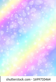 Holographic vector illustration in pastel color. Galaxy fantasy background. The Pastel sky with rainbow for unicorn. Clouds and sky with bokeh. Cute bright pattern for candy.