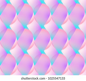 Holographic vector seamless background. Mermaid decor elements. Fish skin motif. Colorflul scales or drop shape repeatable pattern. Vivid neon colors and fluid effect.