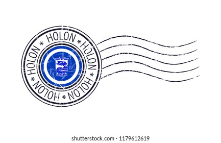 Holon city grunge postal rubber stamp and flag on white background