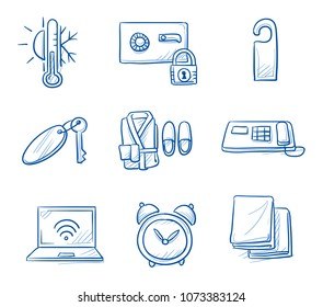 Holtel room icon set, with towels, key, phone, safe, wifi, air condition thermometer, alarm clock, hang tag.  Hand drawn line art cartoon vector illustration.