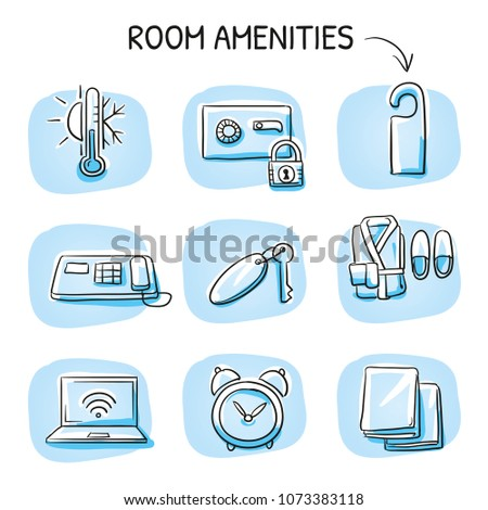 holtel room icon set towels key stock vector royalty free