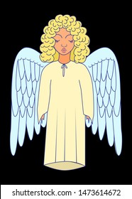 Holy angel with wings. An angel in long clothes and curly hair.