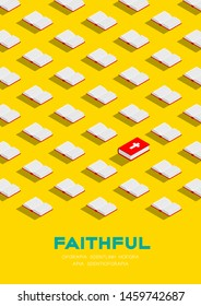Holy Bible book 3D isometric pattern, Christian faithful concept poster and banner vertical design illustration isolated on yellow background with copy space, vector eps 10