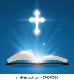 Holy bible design over blue background, vector illustration.