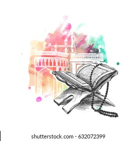 The holy book of the Koran on the stand, Hand Drawn Sketch Vector illustration.