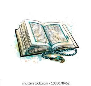 Holy book of Koran with rosary from splash of watercolors. Muslim holiday, Eid Mubarak, Eid al-fitr, Ramadan Kareem. Hand drawn sketch. Vector illustration of paints