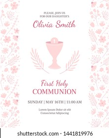 Holy Communion invitation design template. Christianity vector illustration