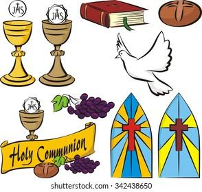 holy communion - vector set of equipment