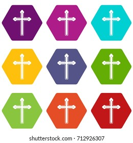 Holy cross icon set many color hexahedron isolated on white vector illustration