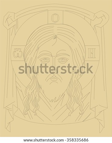 holy face template drawing stock vector royalty free 358335686