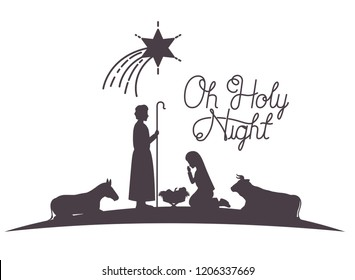 holy family and animals manger silhouettes