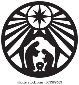 Holy family Christian silhouette icon vector illustration on white background. Scene of the Holy Bible