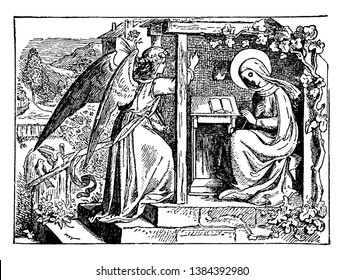 The Holy Family consists of the Child Jesus, the Mary, and Saint Joseph, vintage line drawing or engraving illustration.