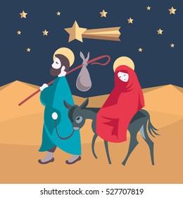 Holy family, flight to Egypt. Joseph, Mary and child Jesus, on a donkey, walking in Egyptian desert Illustration