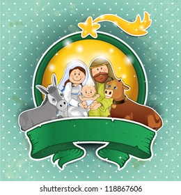 Holy Family with ox and ass rim lights and banners with  background vintage turquoise