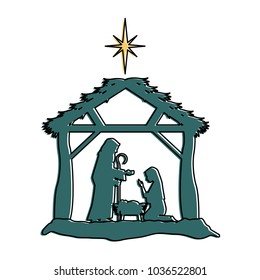 holy family silhouette in stable christmas characters