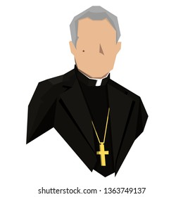 the Holy father in black clothes with a cross around his neck