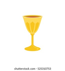 holy grail or chalice with red wine illustration, flat design