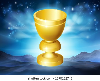 A holy grail cup gold chalice goblet illustration concept