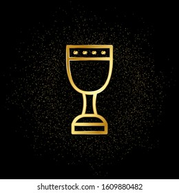 Holy grail gold icon. Vector illustration of golden particle background.. Spiritual concept vector illustration
