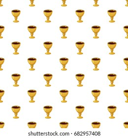 Holy Grail pattern seamless repeat in cartoon style vector illustration