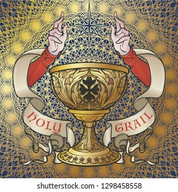Holy Grail. Symbol of spiritual insight in the romantic literature. Medieval gothic style concept art . Vintage color palette. Isolated on a Decorative floral background. EPS10 vector illustration
