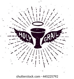 Holy grail, textured vintage retro badge, isolated on white background vector graphic shape art.