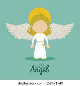 holy guardian angel over blue background vector illustration