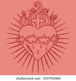 the holy heart of Lord Jesus Vector, for the design of t-shirts or tattoos is very suitable