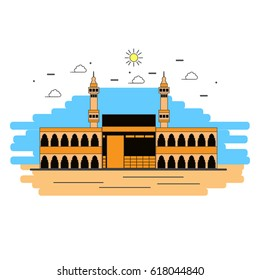 Holy Kaaba flat linear style illustration.