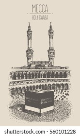 Holy Kaaba in Mecca Saudi Arabia with muslim people, vector illustration, hand drawn, sketch
