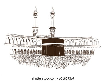 Holy Kaaba in Mecca Saudi Arabia with muslim people, hand drawn, vector sketch
