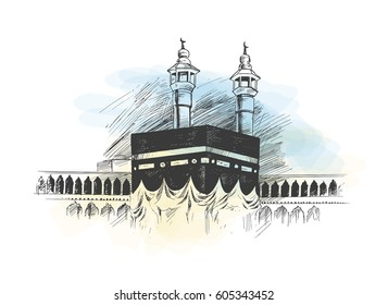 Holy Kaaba in Mecca Saudi Arabia, Hand Drawn Sketch Vector illustration.