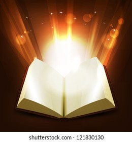 Holy And Magic Book/ Illustration of an opened book illuminating with light rays and shiny bright magic light rays rising from the pages