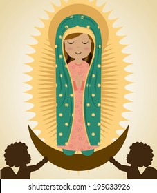 Holy Mary design over beige background, vector illustration