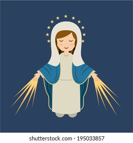 Holy Mary design over blue background, vector illustration